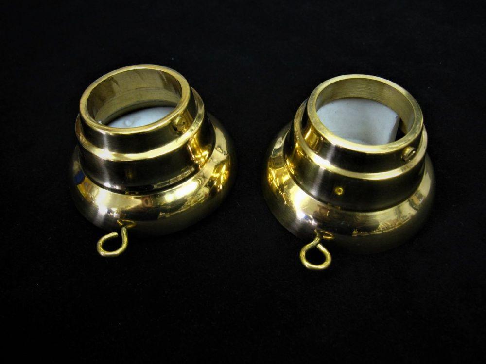 2 Brass Recess Pole Brackets 30mm Curtain Wardrobe Rail